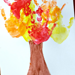 handavtryck teckning träd