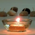Värmeljus med matolja som bränsle