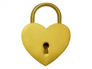 Kärlekslås Heart Golden 44 mm