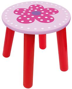 Söt rosa och röd pall för barnrummet